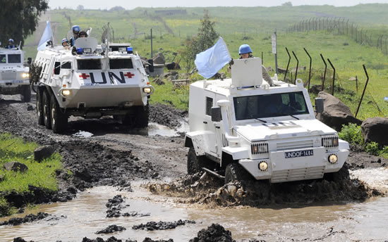 UNDOF peacekeepers patrol Golan Heights. UN Photo/Wolfgang Grebien